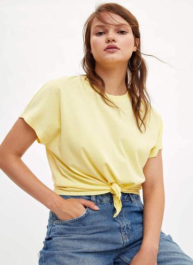 DeFacto Etek Ucu Düğüm Detaylı T-shirt Sarı